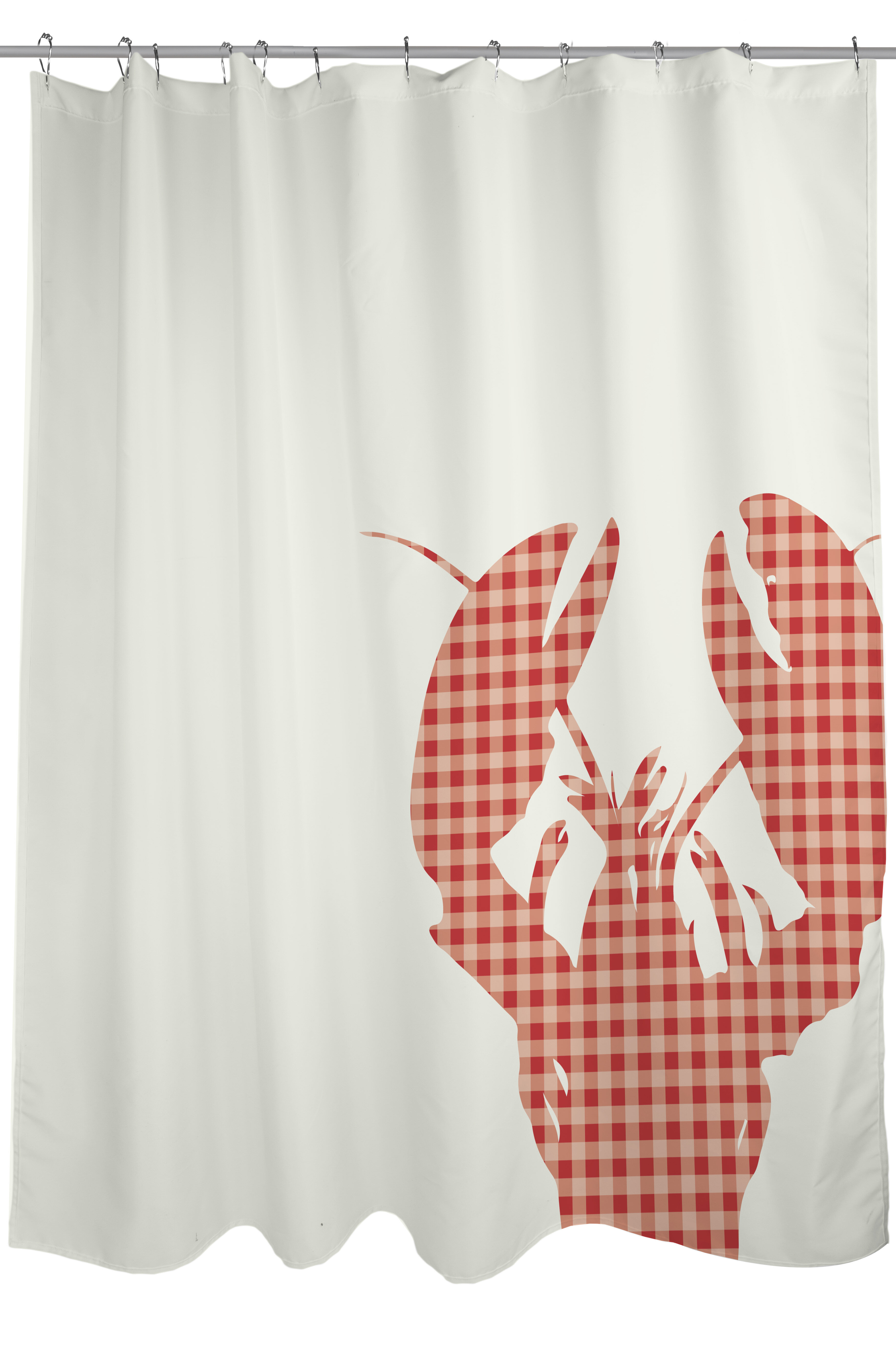 One Bella Casa Plaid Lobster Woven Polyester Shower Curtain