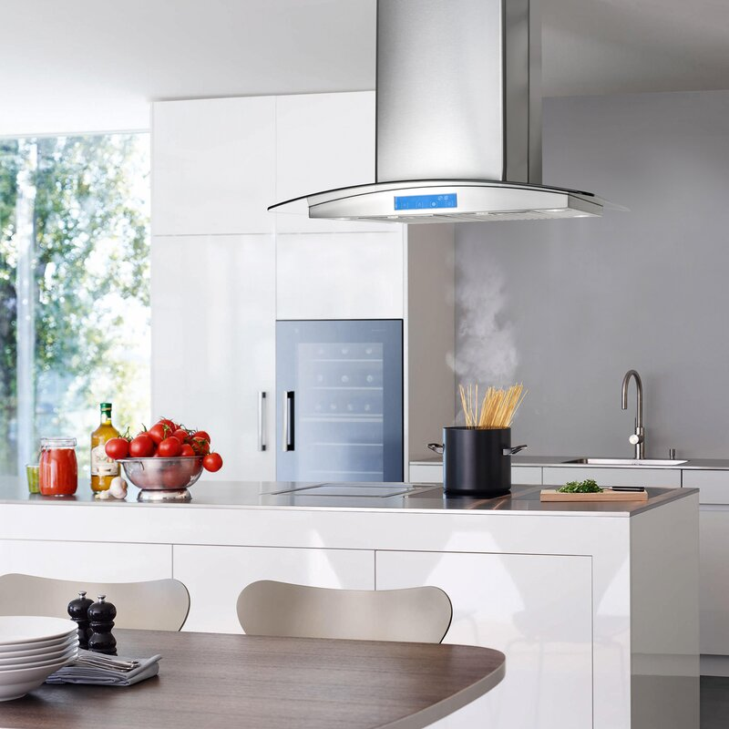 kitchen island with range and hood cosmo 30 quot 900 cfm ducted island range in stainless 9440
