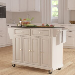 White Kitchen Island With Butcher Block Top white kitchen islands & carts you'll love | wayfair
