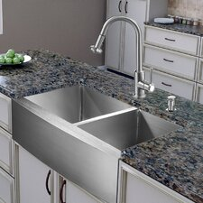 36 inch farmhouse apron 6040 double bowl 16 gauge stainless steel kitchen sink with. beautiful ideas. Home Design Ideas