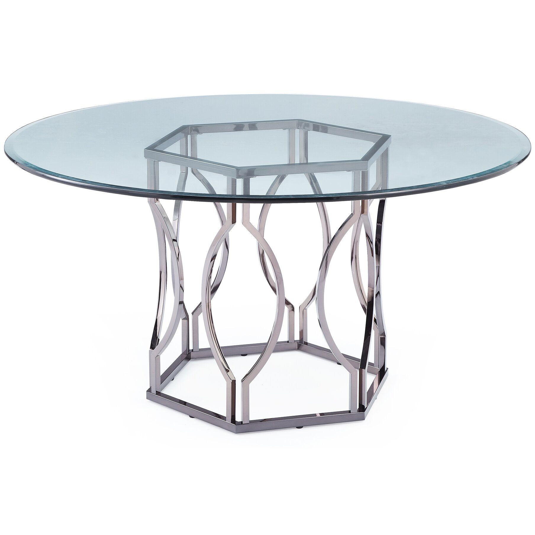 Round Glass Dining Room Table: Mercer41™ Viggo Round Glass Dining Table & Reviews