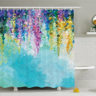 Purple And Teal Shower Curtain Watercolor Flower Home Ivy Romantic Inspiring Landscape Spring Floral