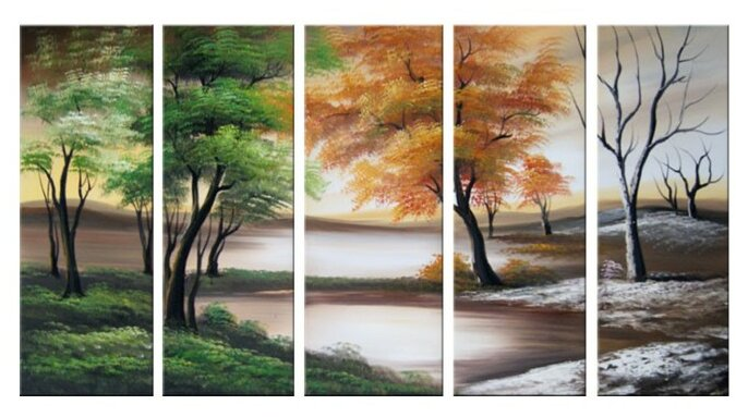 Four Seasons on a Cloudy Day 5 Piece Painting on Canvas Set - DesignArt Four Seasons On A Cloudy Day 5 Piece Painting On Canvas
