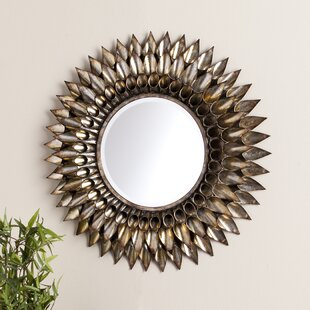 Exceptional Round Galvanized And Weathered Silver Decorative Wall Mirror