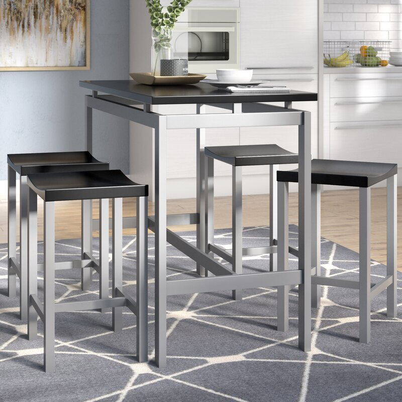 brayden studio swigart 5 piece pub table set reviews wayfair. Black Bedroom Furniture Sets. Home Design Ideas