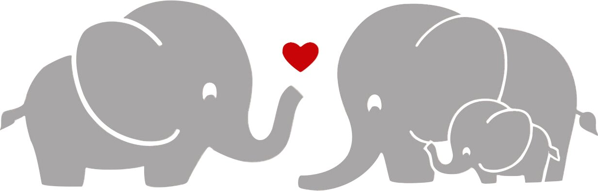 Elephant Family with Red Heart Wall Decal & Reviews ...