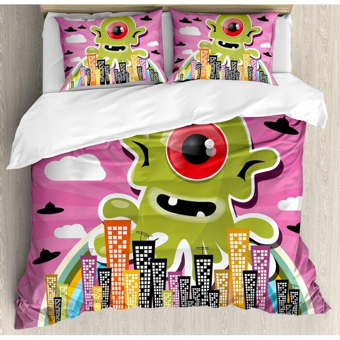 Outer E Funny Giant One Eyed Monster City Urban Danger Invasion Clip Design Duvet
