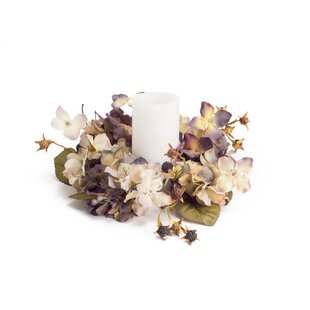 Silk floral candle rings wayfair hydrangea candle ring floral candelabrum set of 6 mightylinksfo