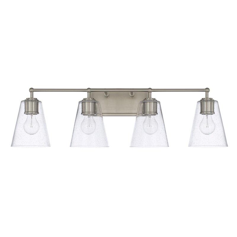 Three Posts Gallego 4-Light Glass Shade Vanity Light