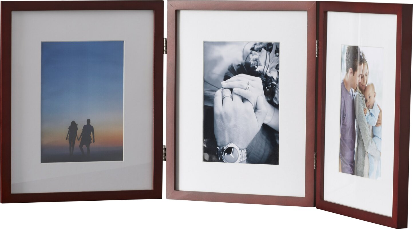 Hinged Triple Picture Frame with Bevel Cut Mats & Reviews | Birch Lane