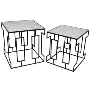 Mathews 2 Piece Marble Nesting Tables by Brayden Studio