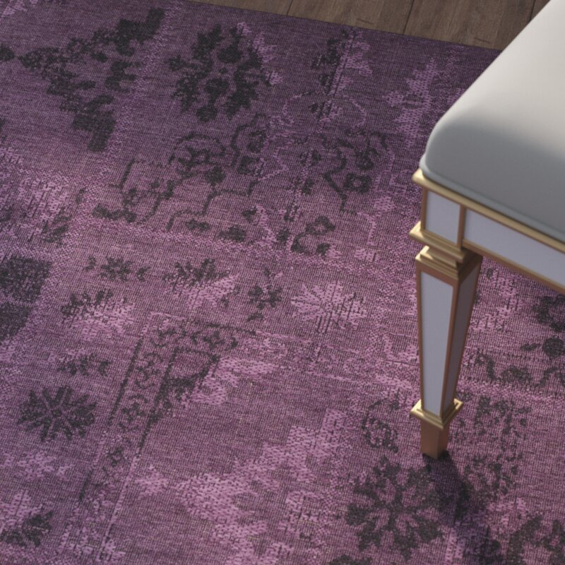 house of hampton chipping ongar black/purple area rug & reviews