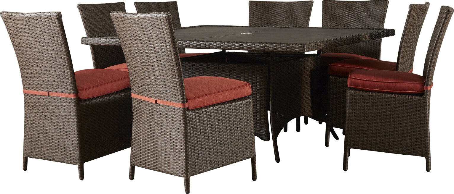 brayden studio luciano 9 piece dining set with cushions reviews default name