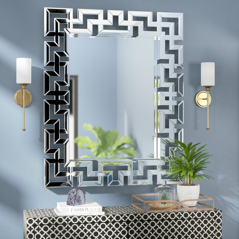 Rectangle Ornate Geometric Wall Mirror Amp Reviews Allmodern