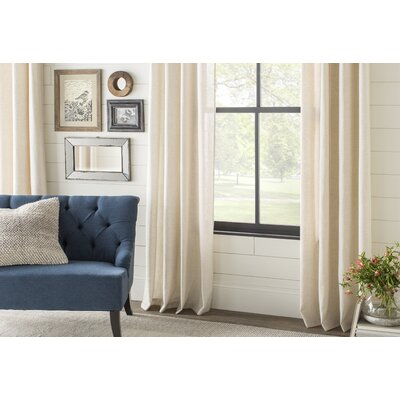Alcott Hill Aldreda Extra Wide Solid Blackout Thermal Rod Pocket Single Curtain Panel Size per Panel: 120 L x 100 W, Color: Egg Nog