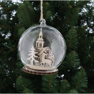 cloche with laser cut wooden church shaped ornament