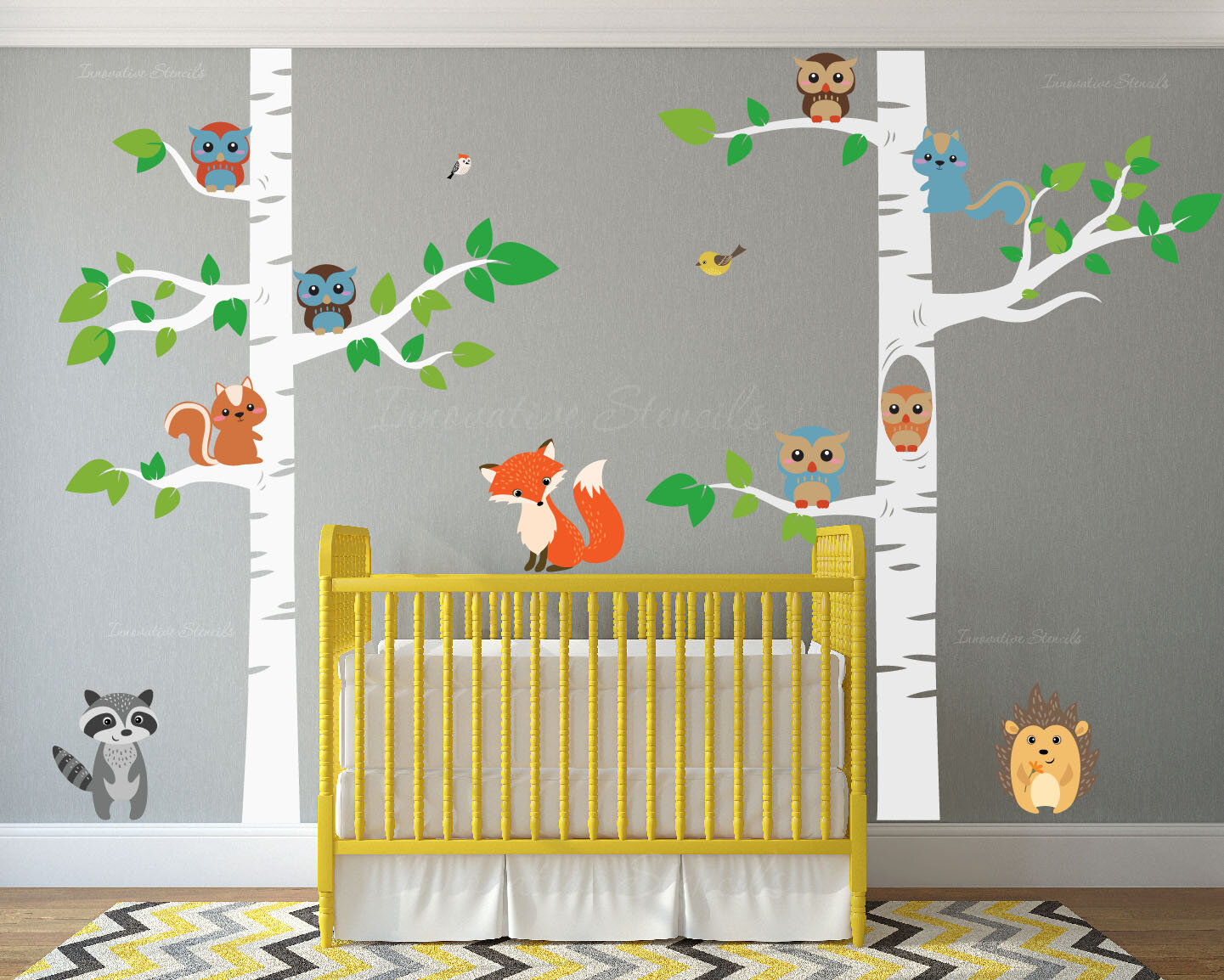 Innovative Stencils 12 Piece Birch Tree Nursery Wall Decal Set Reviews Wayfair