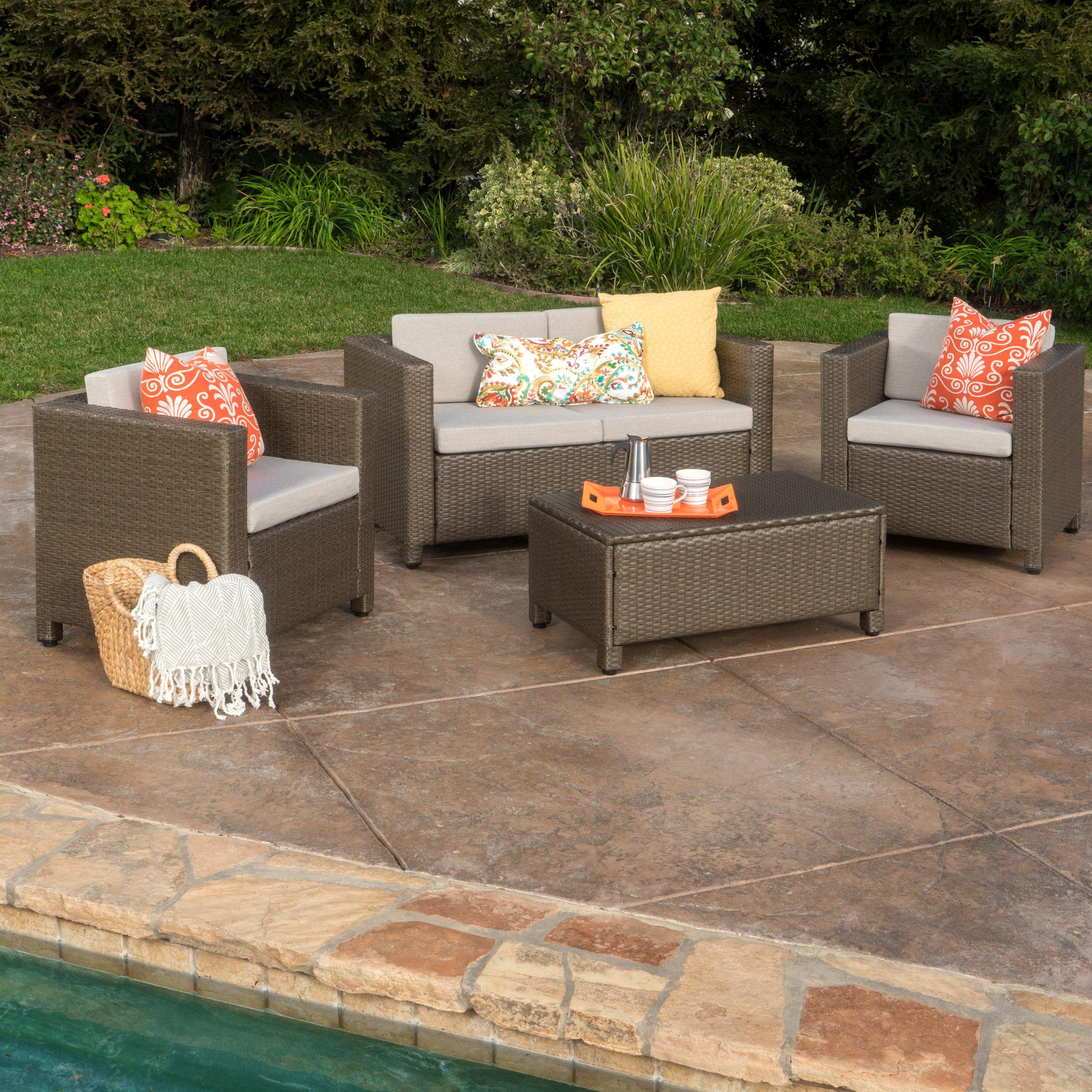 Mercury Row Kappa 4 Piece Rattan Sofa Set with Cushions & Reviews