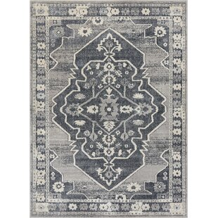 Pearl Republic Persian Medallion Soft Vintage Dark Grey Rug
