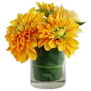 Artificial Silk Dahlia Floral Arrangements in Decorative Vase