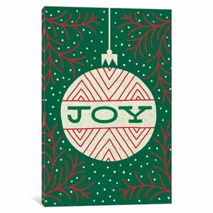 'Jolly Holiday Ornaments Series: Joy' Graphic Art Print on Canvas