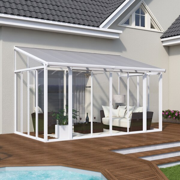 Palram San Remo Patio 14 Ft. W X 10 Ft. D Aluminum Wall Mounted Gazebo U0026  Reviews | Wayfair