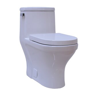 Contemporary Single Flush 1 Piece 1.28GPF Elongated Toilet