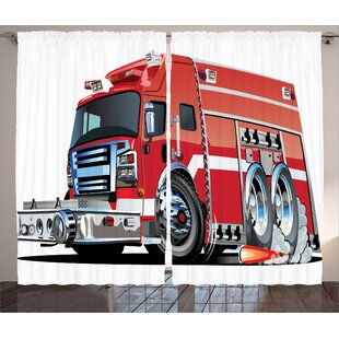 Myaa Big Fire Truck Graphic Print Text Semi Sheer Rod Pocket Curtain Panels Set Of 2