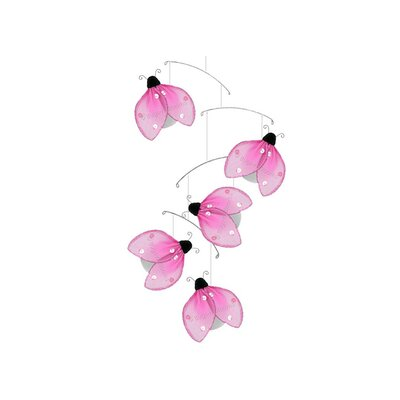 Ladybug Glitter Nylon Hanging Mobile Bugs-n-Blooms Color: Pink
