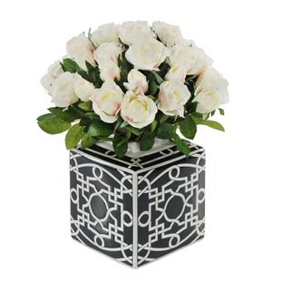 White vase with flowers wayfair rose bouquet in black white ceramic vase mightylinksfo Image collections