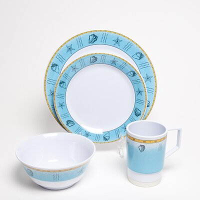 Galleyware  Company Decorated Offshore Melamine 16 Piece Dinnerware Set, Service for 4