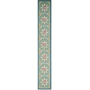 Aubusson Hand-Woven Wool Green/Blue Area Rug Pasargad
