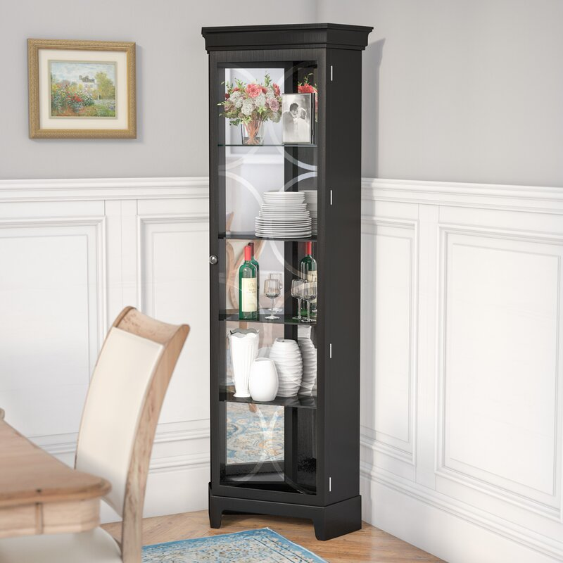Nyo Lighted Corner Curio Cabinet