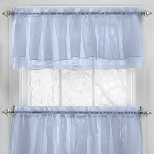 Elegant Crushed Voile Ruffle Kitchen Window Curtain Valance