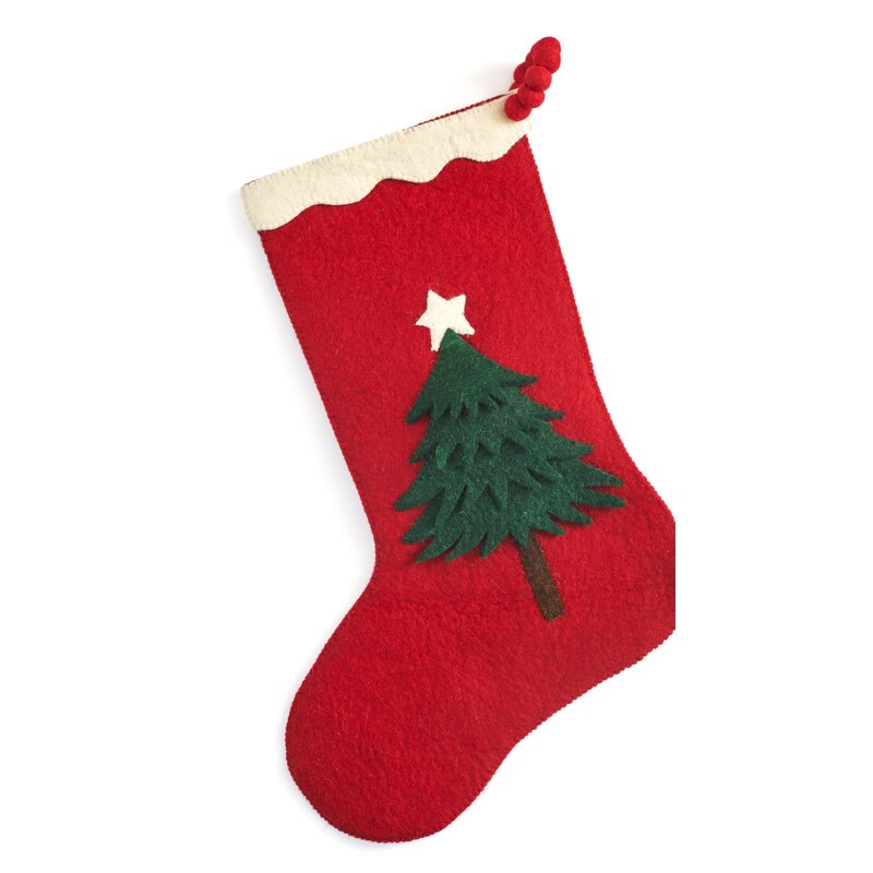 hand felted wool christmas tree stocking
