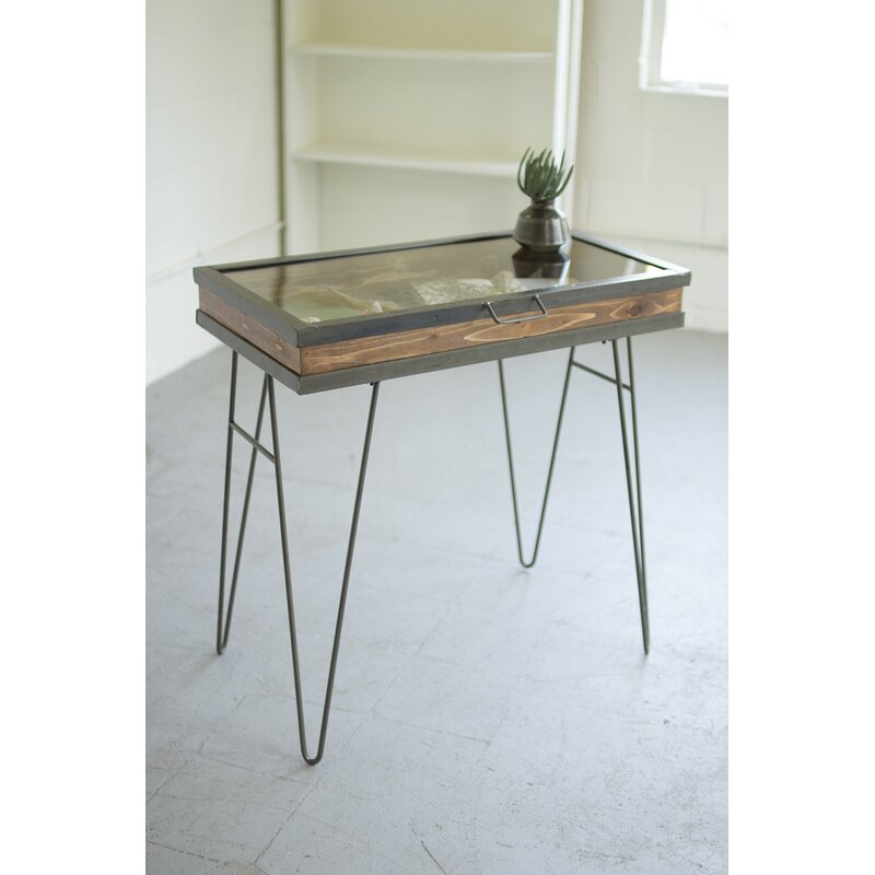 Charmant Display Table With Hinged Glass Top