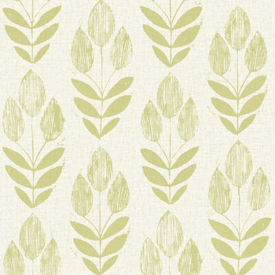 Brayden Studio Ladwig Scandinavian 33' x 20.5 Block Tulip Floral Wallpaper Roll Color: Green