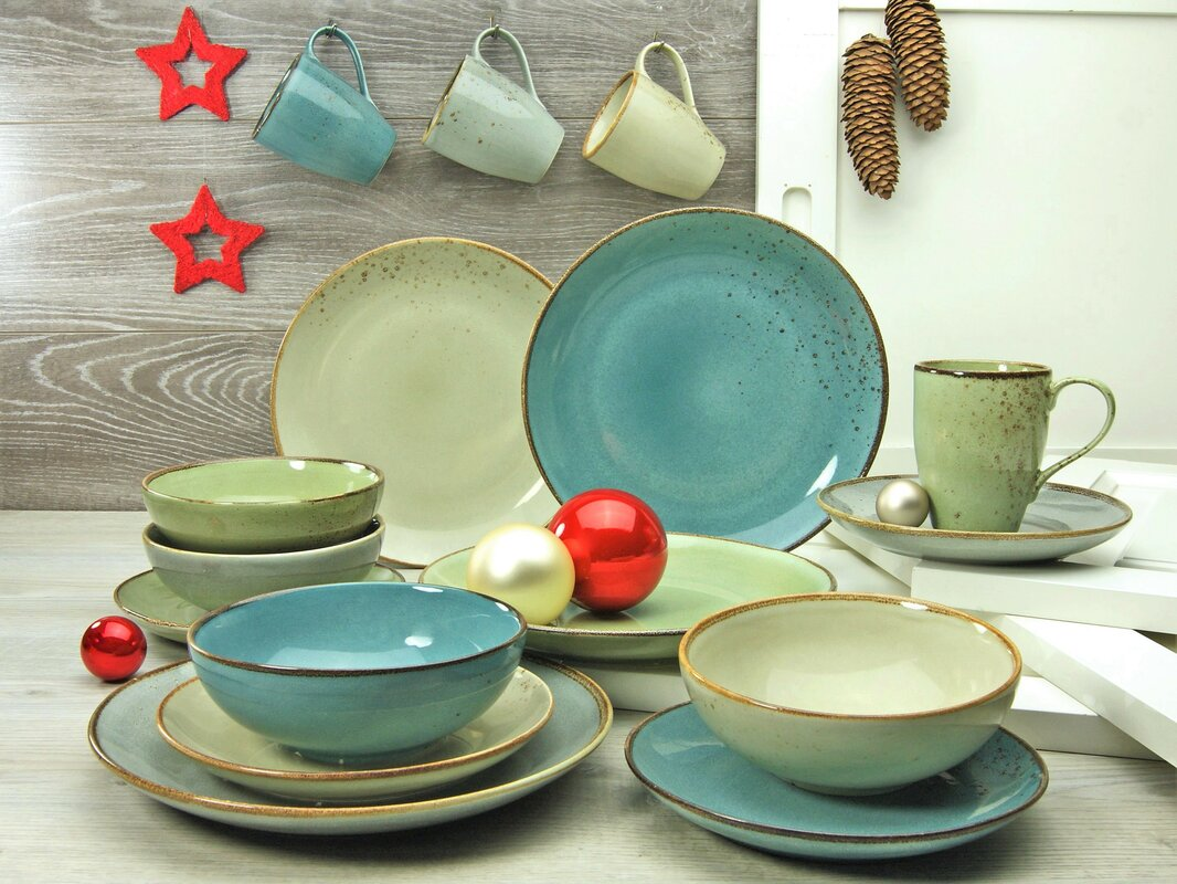 Creatable Nature 16 Piece Dinnerware Set With Mug Service