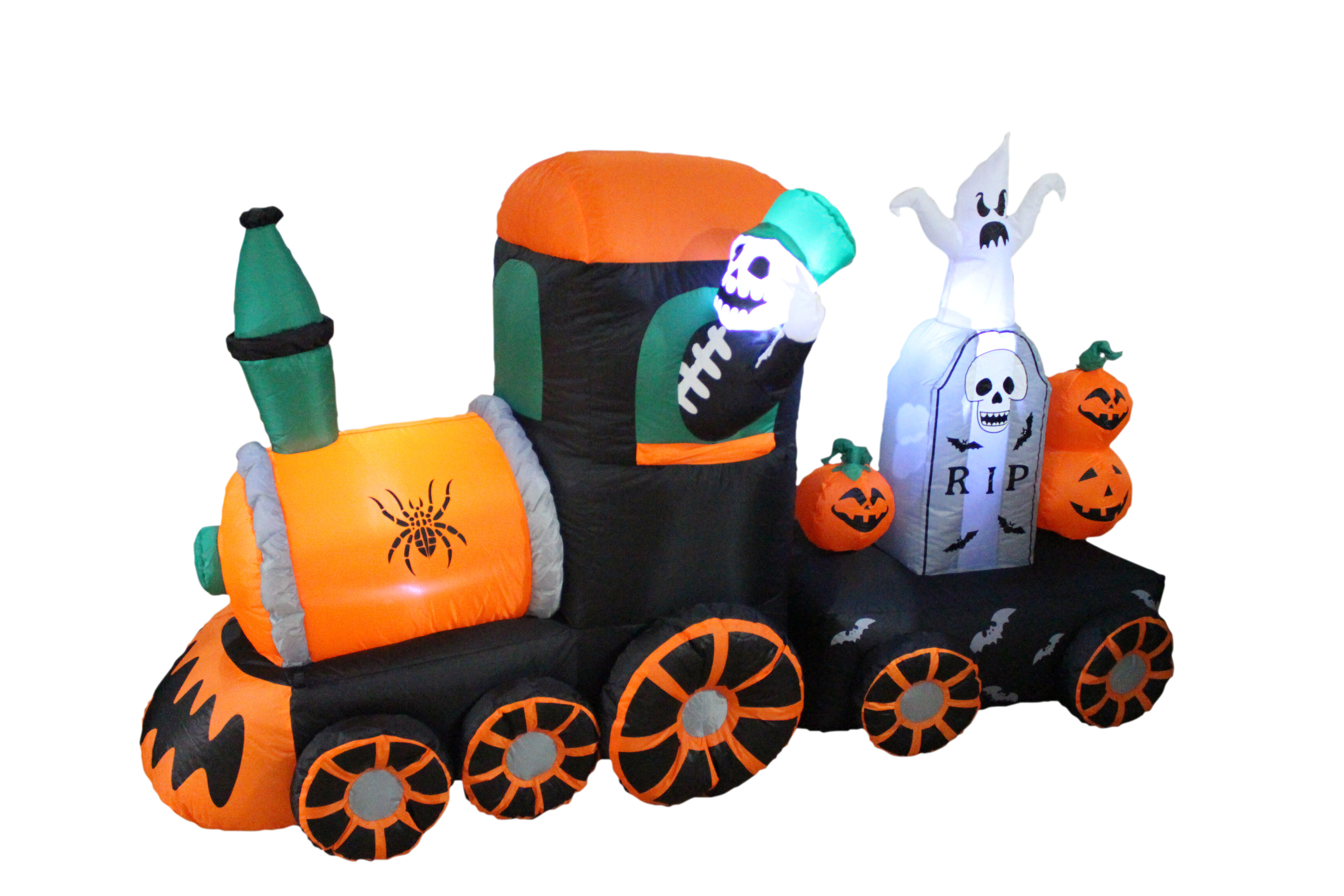 Nice Halloween Inflatable Skeleton On Train Decoration