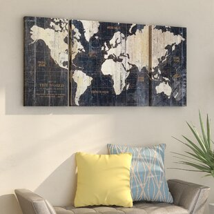 U0027Old World Map Blueu0027 3 Piece Graphic Art Print Set On Wrapped Canvas