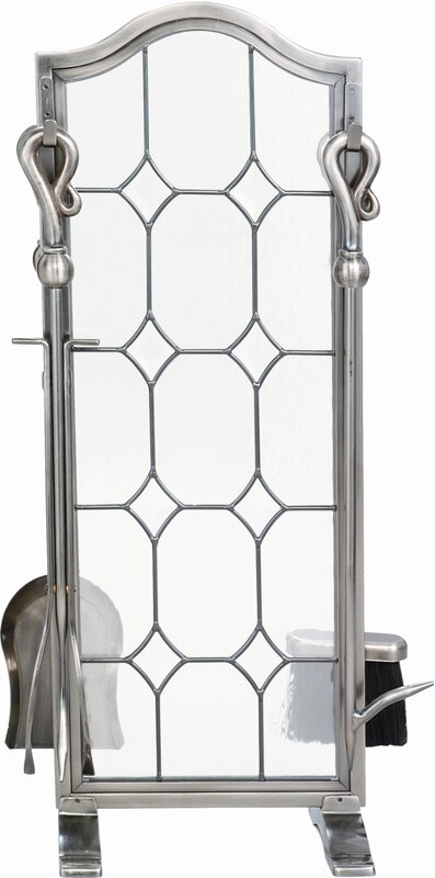4 Piece Pewter Leaded Glass Fireplace Tool Set With Stand