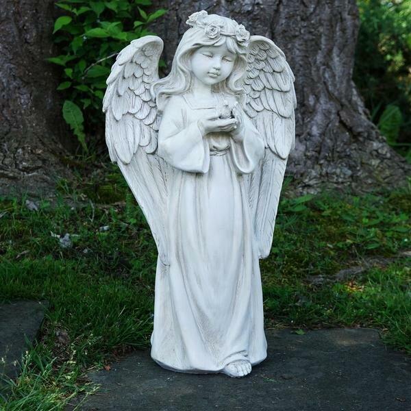 angel garden statue. standing girl angel outdoor garden statue