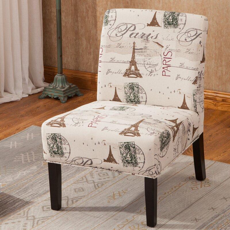 Bon Goodale Script Linen Print Fabric Armless Oversize Slipper Chair