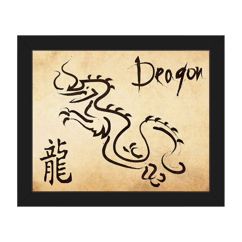 Chinese Zodiac Dragon Paper Framed Graphic Art on Canvas