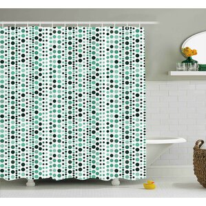 thelma modern retro 60s 70s vintage geometrical circles dots points ombre image shower curtain