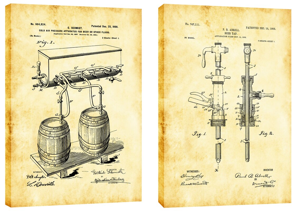 Epic Graffiti For the Love of Beer Diptych Vintage Patent