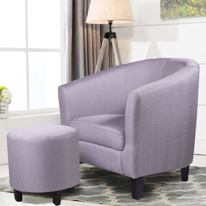Margaux Barrel Chair and OttomanChair   Ottoman Sets You ll Love   Wayfair. Living Room Chairs With Ottoman. Home Design Ideas