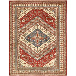 One Of A Kind Alayna Hand Knotted 7 X 9 Wool Red Beige Area Rug