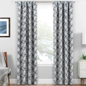 Allen Ikat Room Darkening Thermal Rod Pocket Single Curtain Panel