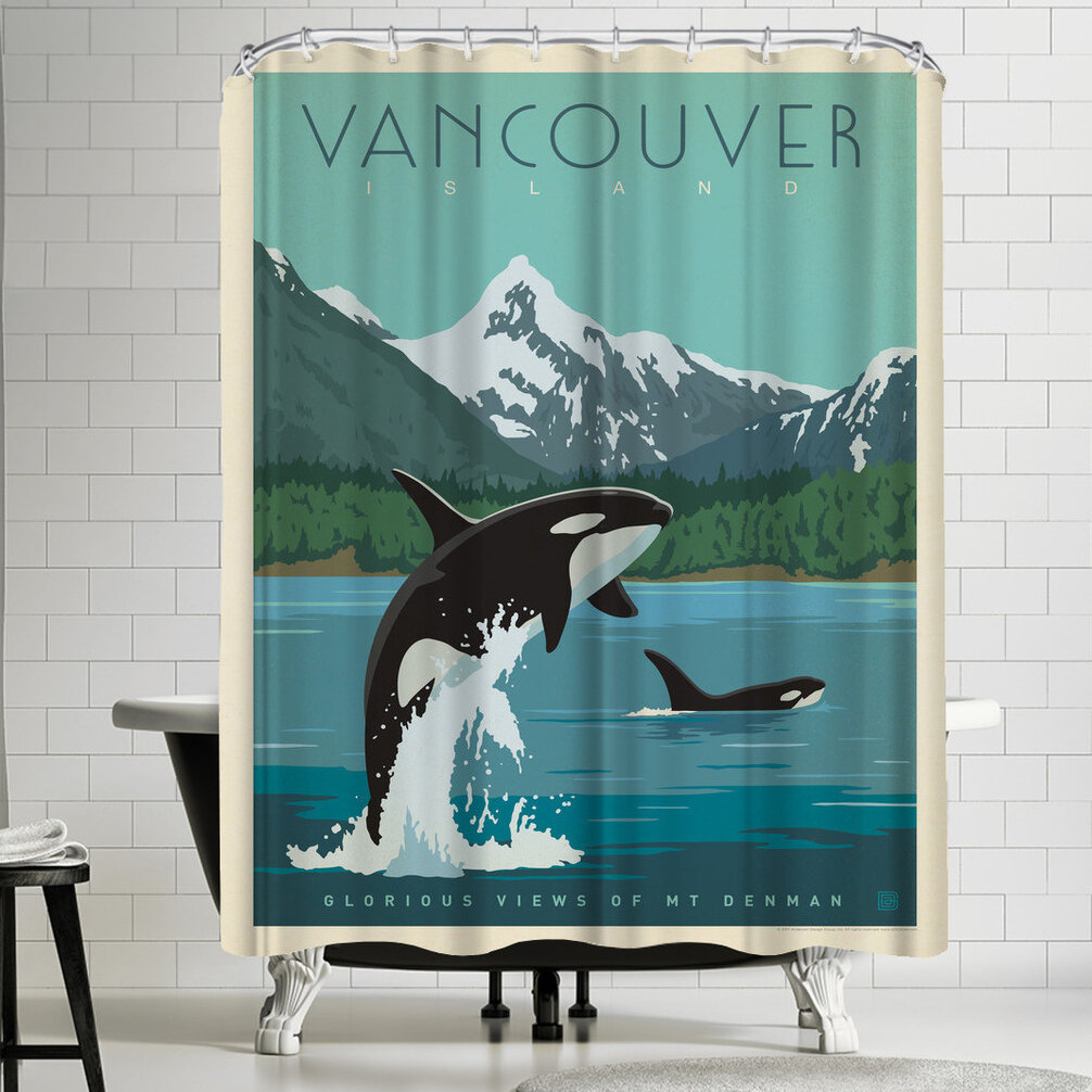 East Urban Home Anderson Design Group Canada Vancouver Island Orcas Shower Curtain